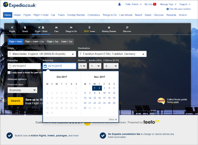 Example of Expedia.co.uk
